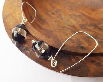 1920s vintage crystal glass, art deco black and white, vintage earrings, dangle earrings, sterling silver, real vintage