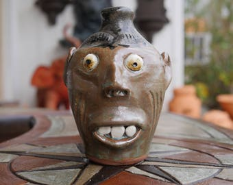 Craven Pottery Small Face Jug with Drips by Billy Joe Craven
