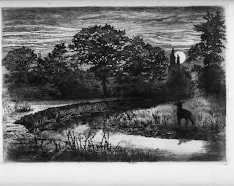 "P.G. HAMERTON Original Etching, ""Moonrise on the Ternin"""