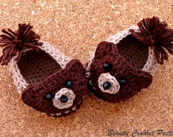 Baby Booties Bear, Baby Bear Crochet Booties Pattern, Baby Boy Booties Pattern, Baby Boy Shoes Pattern, CROCHET PATTERN Baby Bear Slippers