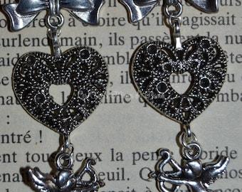 American silver romantic earrings