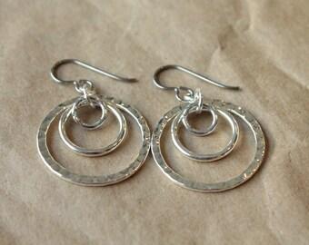 Titanium Hoop Earrings / Allergy Free Earrings / Nickel Free Earrings Hoops - Tres Textured Silver Plated Hoop Dangles