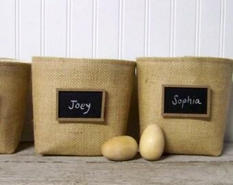 free shipping - chalkboard basket - burlap - natural - bucket - storage - organization - organizer - fabric baskets - gift basket - cont