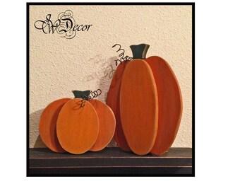 Home Living Thanksgiving Decor , Rustic Wood Pumpkin, Wooden Pumpkin, Freestanding set of 2 Pumpkins Decor