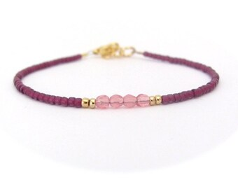 Dainty Pink Bracelet, Seed Bead Bracelet, Friendship Jewelry, Bridesmaid Gift, Minimal Modern, Delicate Dainty Jewelry, Hawaiian Jewelry
