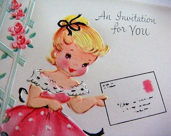 10 Girl In Pink Party Invitations Gracious Greetings by Dreyfuss