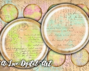 Instant download Old Letters digital collage sheet 1 inch circles 1.5 inch, 30mm