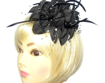 Black and silver hanging beads fascinator clip, Weddings, Races,Ladies Day, Prom