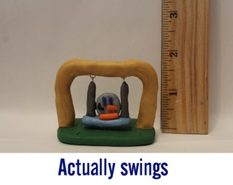 Statue= Penguin on a Swing -Polymer Clay-