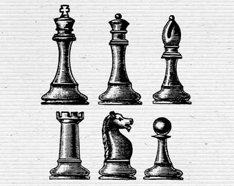 Chess Pieces Illustration, Digital Cliparts and Vectors in jpg, png, and eps