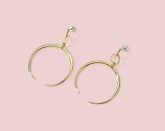 Moon Earrings | Circle Earrings | Hoop Earrings Horn | Simple Gold Dangle Earrings | Stylish Earrings Fashion Jewelry Fashionable Earrings