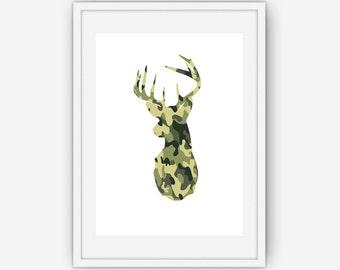 Camouflage Deer Head Print, Deer Antlers Wall Art, Green Camouflage  Wall Art, Deer Print, Wall Art, Printable, Instant Download