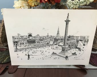 VINTAGE - Black and White Print - Trafalger Square London England