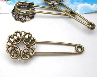 Large pin use to attach Photo charms to your wedding bouquet - Bronze - Wedding brooch in Memory of bail