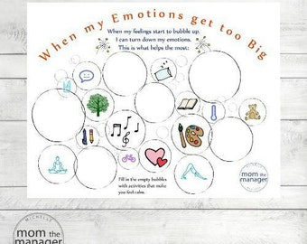 Calm down/relaxation Big Emotions downloadable worksheet
