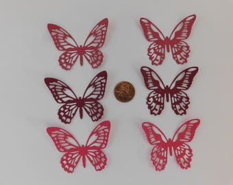 Butterfly Die Cuts 30 small red butterfly paper embellishments scrapbook cardmaking cupcake toppers Wedding Confetti Baby shower confetti