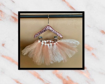 Rose gold tulle, lace and glitter tutu dress skirt for dogs
