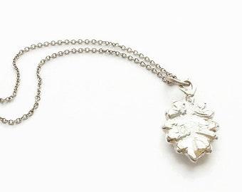 Sterling Silver Leaf Pendant Necklace  - HALLMARKED