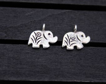 1pc Sterling Silver Elephant Charm, Sterling Silver Elephant Pendant,Silver Elephant Jewelry