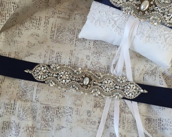 Navy Sash Belt, Blue Wedding Sash, Navy Blue Bridal Sash, Crystal Wedding Belt, Rhinestone Sash Belt, Vintage Wedding Sash Belt