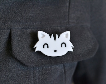Cat Brooch - Acrylic Cat Brooch -  Cats - Cat Pin Badge - Cat Brooch - Cat Gifts - Cat Jewellery Jewelry - Kawaii Brooch