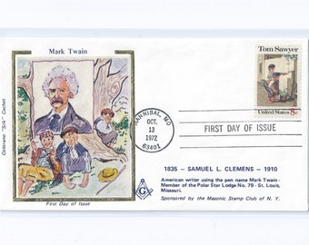 Mark Twain Tom Sawyer Colorano Silk First Day Covers, Color Shift Error,  Postmarked Hannibal, MO Oct. 1972