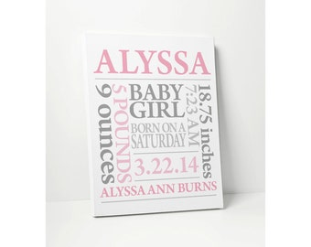 NEW BABY GIFT: Personalized Baby Birth Announcement Nursery Art with Baby Name Birth Date in Pink & Grey or Customize Colors Wall Decor