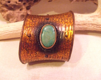 Tribal Bracelet Brass with green stone   -- old jewelry  -- heavy patina( FREE SHIPPING SALE)