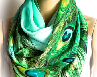 Peacock Feathers Infinity Scarf Accessories Loop Scarf Birthday Gift Women Scarf Gift ideas For Her Gift For Women Boho Scarf Bohemian