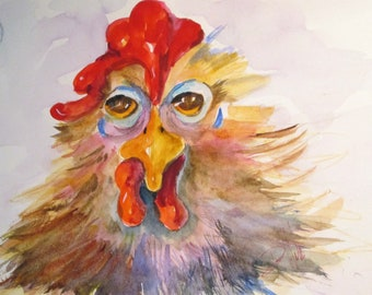 Tired Old Rooster chicken watercolor painting Art by Delilah