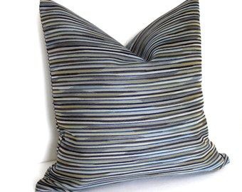 Blue Grey Pillow Cover 16x16 Stripe Upholstery Fabric Decorative Pillow Throw Pillow Cover