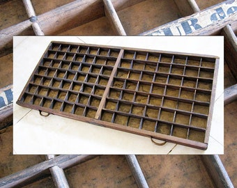 FREE POSTAGE - Lovely French Printers Tray - Vintage Letterpress Old Antique Typecase Drawer Shadow box display