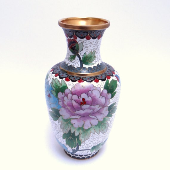 Vintage Chinese Cloisonne Vase White Enamel Cloisonne