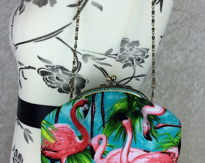 Handmade handbag purse clutch kiss clasp Alice frame bag Flamingos