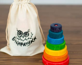 Rainbow stacking toy | Stacking toy | Wooden stacking toy | Wooden toy | Rainbow toy | Toddler toy | Babyshower gift | Eco toy | Eco wood