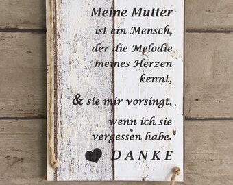Muttertag, Holzschild, Vintage, Spruchschild, Handmade, Spruchtafel, Mama,
