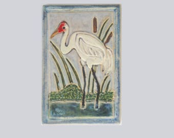 Whooping Crane Arts and Crafts MUD Pi Decorative Handmade 4x6 Ceramic Tile