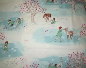 Sarah Jane for Michael Miller Fabric Wander Woods BTHY Aqua and White Background  Cjildren Deer Trees Sweet Images