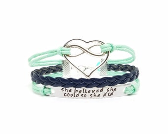 She Believed She Could So She Did Bracelet | Affirmation Bracelet | Heart Infinity Bracelet | Mantra Jewelry | Hand Stamped Personalized