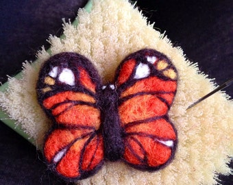 Needle Felt butterfly brooch hair clip