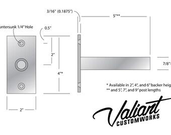 "Steel 3"" - 12"" Long 7/8"" Post DIY Floating Shelf Bracket Pair - For Heavy oversize shelves measuring 1 3/4"" to 6"" thick."