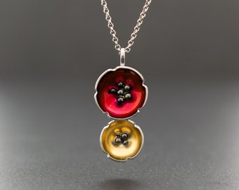Enamel pendant, flower necklace, mother gift, statement necklace, poppy necklace, lucky charm, flower jewelry necklace, enamel jewelry