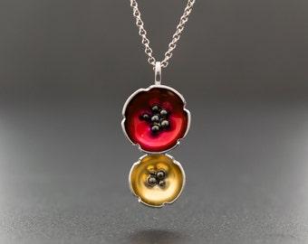 Enamel pendant, flower necklace, statement necklace, poppy necklace, flower jewelry necklace, enamel jewelry