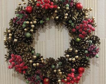 Christmas wreath Gold Wine