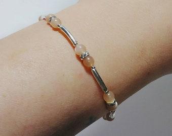 Moonstone bracelet / sterling silver bracelet with gemstone / pink moonstone / silver bangle / ladies bracelets / thin bangles / soft pink