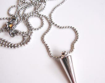 Silver Spike Necklace, Tiny Ball Silver Chain, Long Necklace, Modern Pendant, Minimalist jewelry, Redpeonycreations