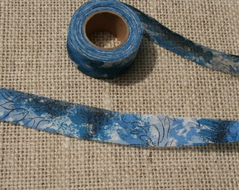 Vintage Bias Tape Roll Abstract Blue Floral Pattern