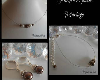 Set of 3 wedding rhinestone and white pearls and Brown pieces
