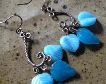 Blue leaf handmade earrings, boho jewelry