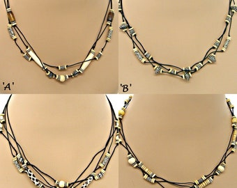 Festival BoHo BONE SILVER BEADS 3 Strand Knotted Cord Necklace 4 Styles Available
